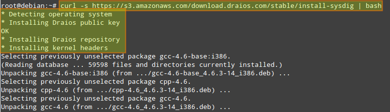 # curl -s https://s3.amazonaws.com/download.draios.com/stable/install-sysdig | bash
