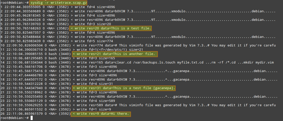 "# sysdig -p ""%user.name %proc.name %fd.name"" ""evt.type=write and fd.name contains /home/"" -z -w writetrace.scap.gz"